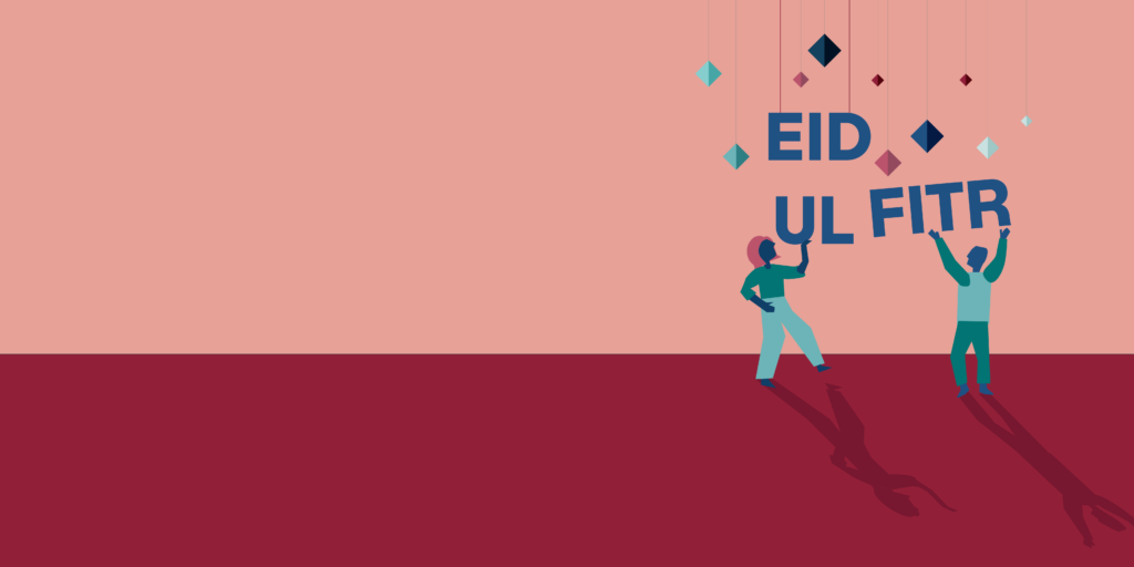 An illustration of two people putting up decorations that say 'Eid Ul Fitr'.